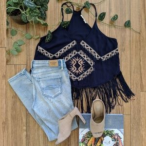 🌵Festive Navy Ethnic Embroidered Tank w/Fringe XS